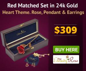 Red matched rose and jewelry set in heart theme